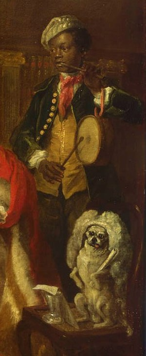 Captain Lord George Graham in his Cabin - The black servant on the right of the painting plays a pipe and tabor. Below, Hogarth's pug dog Trump balances on a chair while wearing Graham's wig.