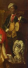 The black servant on the right of Lord George Graham painting plays a pipe and tabor. Below, Hogarth's pug dog Trump balances on a chair while wearing Graham's wig