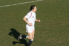 Sue Day (St. John's) scoring a try against Scotland in the 2007 Six Nations