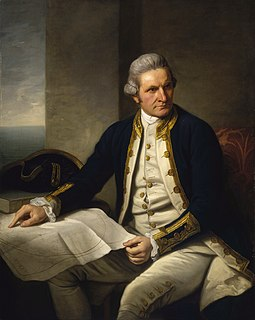 "Famous official portrait of Captain James Cook who proved that waters encompassed the southern latitudes of the globe. ""He holds his own chart of the Southern Ocean on the table and his right hand points to the east coast of Australia on it."" Captainjamescookportrait.jpg"