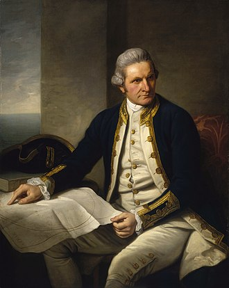 "Southern Ocean - Famous official portrait of Captain James Cook who proved that waters encompassed the southern latitudes of the globe. ""He holds his own chart of the Southern Ocean on the table and his right hand points to the east coast of Australia on it."""