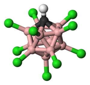 Carborane acid - Ball-and-stick model of the carborane acid anion. (Acidic proton not displayed).  Colour scheme: hydrogen − white, chlorine − green, boron − pink, carbon − black.