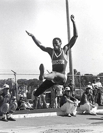 Carl Lewis - Lewis performing the long jump at the University of Houston