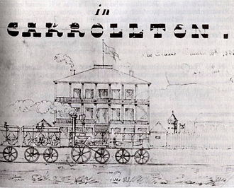 New Orleans and Carrollton Railroad - View of a 2-2-0 steam locomotive, probably by B. Hick and Sons, with carriages at the Carrollton Hotel   16 December 1835, by C. Rothaas