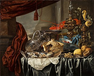 Carstian Luyckx - Opulent Still-Life with Silver and Gilt Metal Objects, Nautilus Shell, Porcelain, Food and Other Motifs on a Draped Table