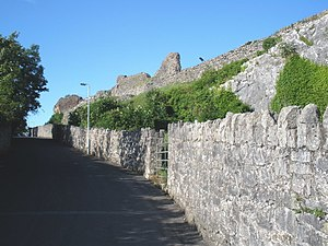 Denbigh Castle - The curtain walls of Denbigh castle.