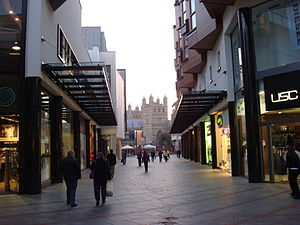 Princesshay - Part of Princesshay with Exeter Cathedral beyond, in 2008