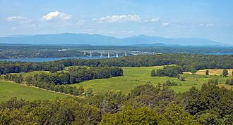 Ferncliff Forest - View of the Hudson River, Catskills, and the Kingston-Rhinecliff Bridge from the fire tower in the Ferncliff Forest Preserve