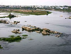 River Kaveri at Erode, where a great deal of erosion can be seen