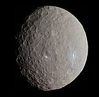 Ceres, the only dwarf planet in the asteroid belt imaged by Dawn