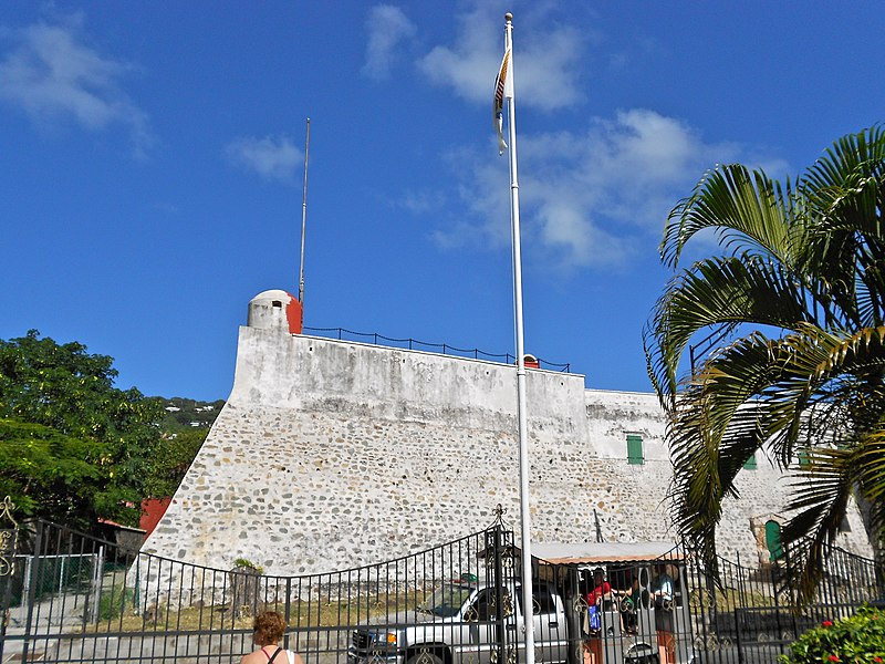 Fort Christian on the NRHP since May 5, 1977. At Saint Thomas Harbor, Charlotte Amalie, US Virgin Islands. The Danish fort is the oldest structure in the U.S. Virgin Islands