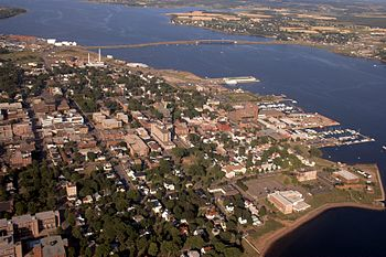 An aerial view of downtown Charlottetown
