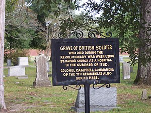 Cheraw, South Carolina - The grave marker for a British soldier in St. David's Cemetery