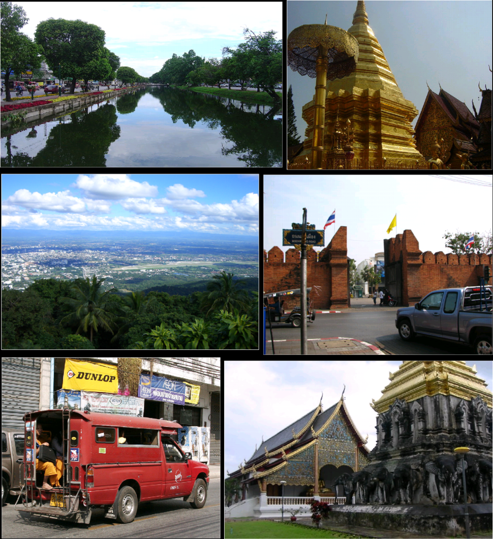 Top left: East moat, Chiang Mai; top right: Stupa, Wat Phra That Doi Suthep; middle left: View from Doi Suthep of downtown Chiang Mai; middle right: Tha Phae Gate; bottom left: A songthaew shared taxi; bottom right: Wat Chiang Man
