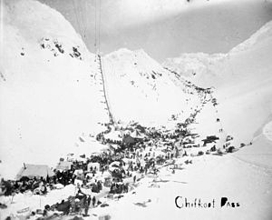 Chilkoot Pass - The Golden Stairs (left), Peterson Pass (right), the Scales (bottom)