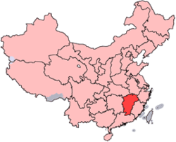Location of Jiangxi