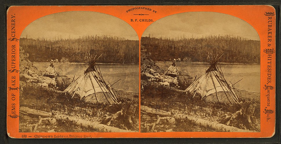 Chippewa lodges, Beaver Bay, by Childs, B. F.