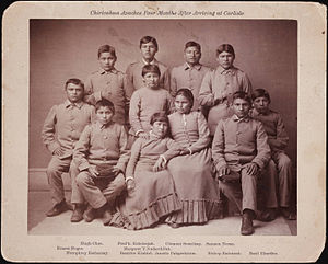 American Indian boarding schools - Chiricahua Apaches Four Months After Arriving at Carlisle. Undated photograph taken at Carlisle Indian Industrial School.