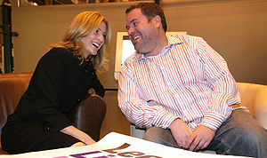 Chris Moyles - Moyles with Gabby Logan during a campaign to promote life in Leeds