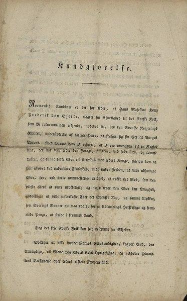 File:Christian Frederiks kundgjørelse av 19. februar 1814.djvu