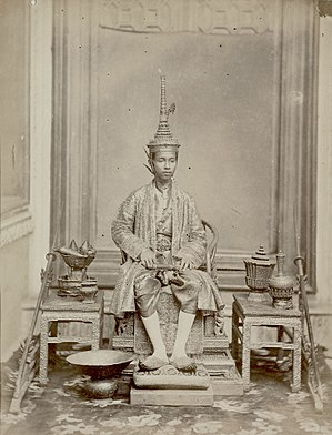 Coronation of the Thai monarch - King Chulalongkorn (Rama V), age 15, at his first coronation in 1868