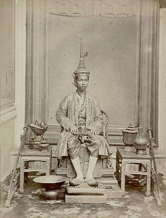 Coronation of the Thai monarch - King Chulalongkorn (Rama V), age 15, at his first coronation in 1868
