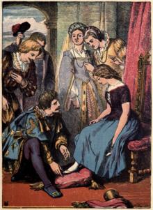 Illustrazione di un'edizione della fiaba di Cenerentola del XIX secolo. Ne Lo cunto de li cunti esiste la prima trascrizione della favola della letteratura occidentale