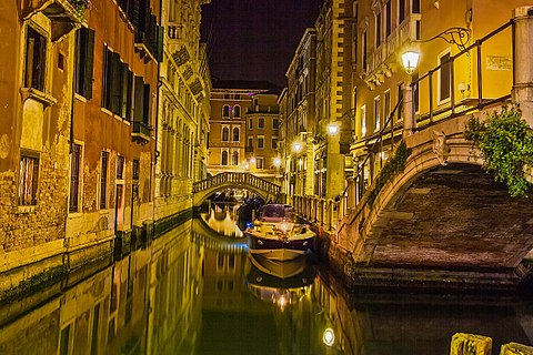 City landscape Venice at night light