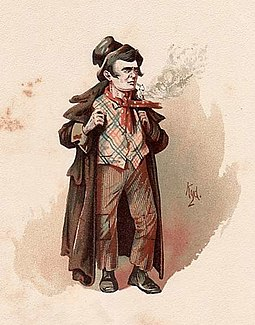 The Artful Dodger from Oliver Twist. His dialect is rooted in Cockney English. Clarke-dodger.jpg