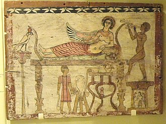 Aulos - Aulist performing for Isis in funerary art from Roman Egypt (Royal Ontario Museum, Toronto)
