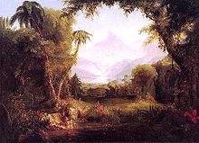An idyllic painting of the Garden of Eden