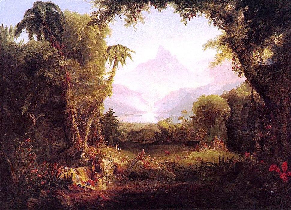 An idyllic painting of the Garden of Eden
