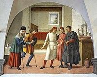 Collaboratore del Ghirlandaio (Forse Francesco d'Antonio), Accogliere I Pellegrini, 1478-81, 01.jpg