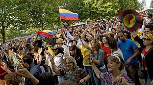 Colombians in the United Kingdom - Colombians on London's South Bank celebrating Colombian independence day