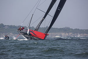 Hodgdon Yachts - Comanche leaving Newport, Rhode Island for Plymouth, England in the 2015 Rolex Transatlantic Race.