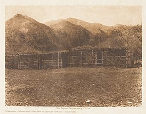 Capitan Grande Reservation - Communal Ceremonial Shelter at Capitan Grande (photographed by Edward Sheriff Curtis in 1924.
