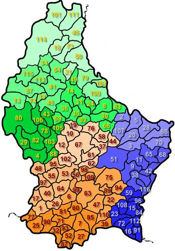 Carta del Lussemburgo che indica la divisione del territorio in comuni. Ogni numero corrisponde a quello nella lista