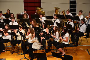 Concert band - A high school concert band—BHS Band in performance, 2013