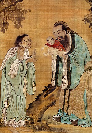 East Asian religions - A painting of Confucius presenting a young Buddha to Laozi