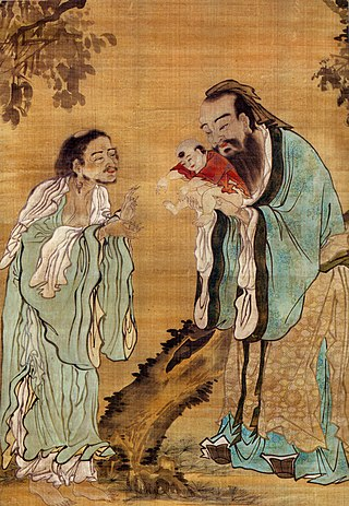 A painting of Confucius presenting a young Buddha to Laozi. Confucius Laozi Buddha.jpg