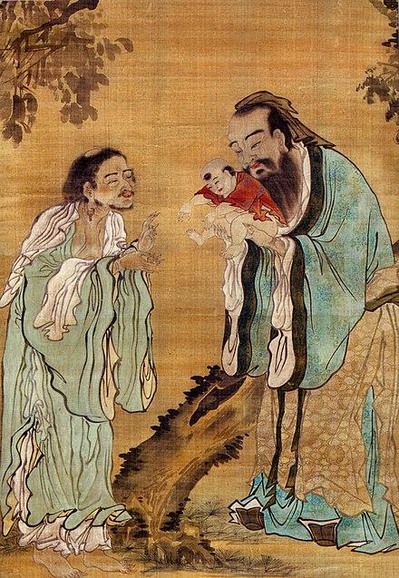 孔子が老子に仏陀を手渡す画