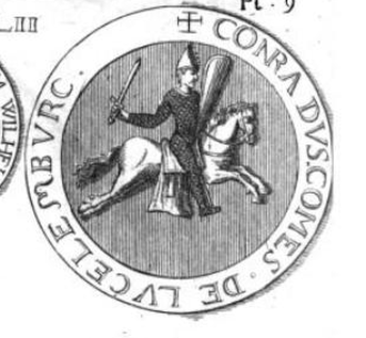 Conrad II, Count of Luxembourg - Seal of Conrad II of Luxembourg. The Latin inscription on the border of the seal reads: CONRADVS COMES DE LVCELEMBVRC.