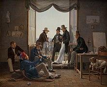 Constantin Hansen, Et selskab af danske kunstnere i Rom, 1837, KMS3236, SMK.jpg