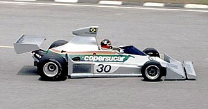 Fittipaldi Automotive - Copersucar-Fittipaldi FD04: Emerson qualified 5th on his debut for the family team in 1976. This was the last Fittipaldi to be built in Brazil.