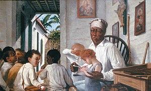 Culture of Puerto Rico - 'La escuela del Maestro Cordero' by Puerto Rican artist Francisco Oller.