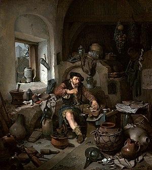Cornelis Pietersz Bega - The Alchemist, 1663