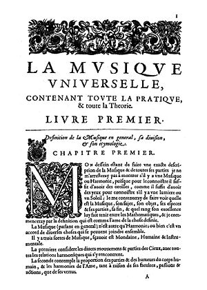 Antoine de Cousu - Beginning of the Musique universelle by Antoine de Cousu (Paris: Robert III Ballard, c. 1658). (c) Bibliothèque Mazarine.