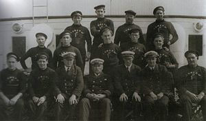 SS Victoria (1907) - Crew of Victoria, 1929, with Capt. Jack Morrison pictured centre.