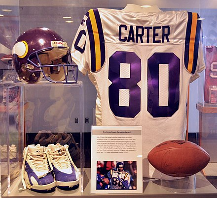 Cris Carter's Hall of Fame display. Carter was a Viking from 1990-2001. Cris Carter HOF jersey.jpg