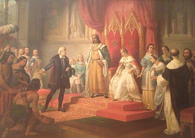 Cristobal Colon en la corte de los Reyes Catolicos by Juan Cordero, 1850